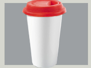 Coffee To Go Becher  porzellan roter deckel