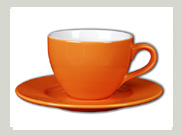 tasse mit unterteller orange