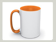 tasse orange mit grossem griff